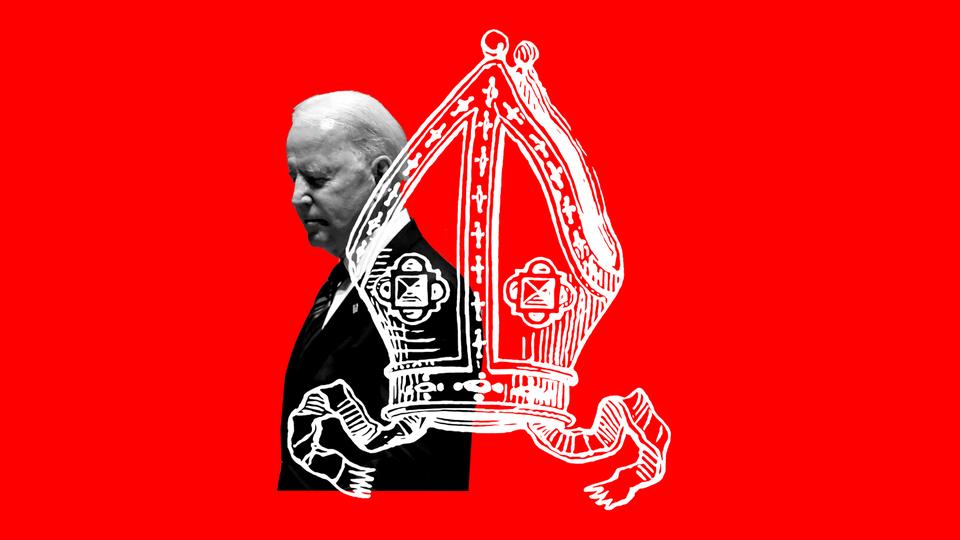 a bishop's miter superimposed on a photo of Joe Biden