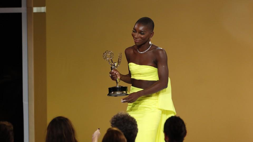 Michaela Coel with her Emmy Award