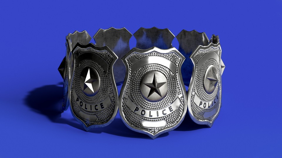 A circle of silver police badges standing against a blue background