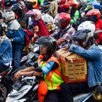a photo of a crowd of motorbikes in Jakarta