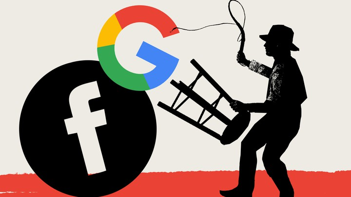 An illustration of a man taming the Google and Facebook logo.